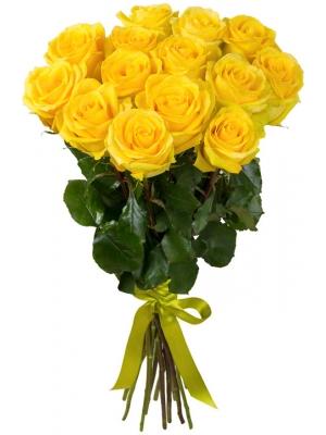 Букет цветов из желтых роз (экстра класс, 15 штук, 70 сантиметров) с доставкой по Киеву.