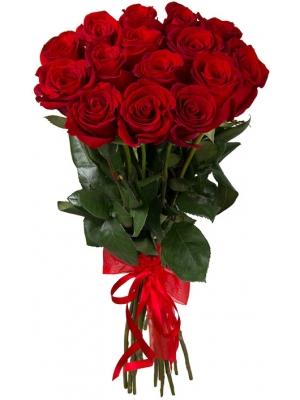Букет цветов из красных роз (15 штук, 70 сантиметров) с доставкой по Киеву №30