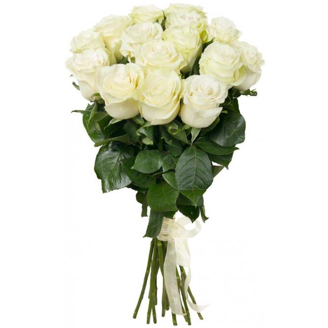 Букет цветов из белых роз (15 штук, 70 сантиметров) с доставкой по Киеву №31