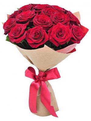 Букет цветов из красных роз (экстра класс, 15 штук, 70 сантиметров) с доставкой по Киеву.