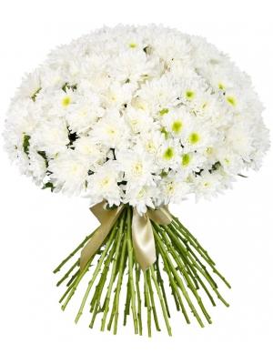 Букет цветов из белой веточной хризантемы (51 ветка) с доставкой по Киеву.