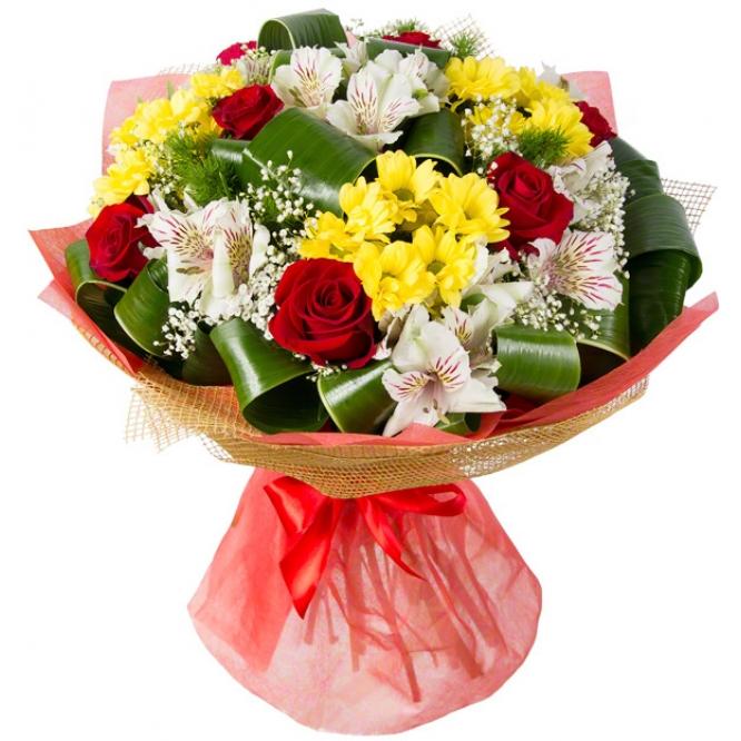 Букет цветов из желтой веточной хризантемы, красных роз, белой альстромерии и декоративной зелени с доставкой.