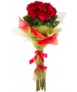 Букет цветов из красных роз (7 штук, 80 сантиметров) с доставкой по Киеву №33