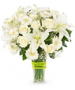 Букет цветов из белых роз, белой герберы, белой лилии, белой гипсофилы и декоративной зелени с доставкой.