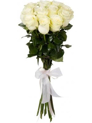 Букет цветов из белых роз (11 штук, 80 сантиметров) с доставкой по Киеву №32.