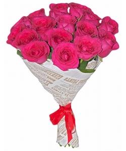 Букет цветов из розовых роз (экстра класс, 15 штук, 70 сантиметров, импорт) с доставкой по Киеву.