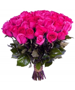 Букет цветов из розовых роз (45 штук 60 сантиметров, импорт) с доставкой по Киеву №17
