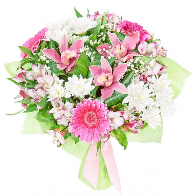 Букет цветов из розовых альстромерии, герберы и орхидеи, белой хризантемы, гипсофилы и декоративной зелени с доставкой.