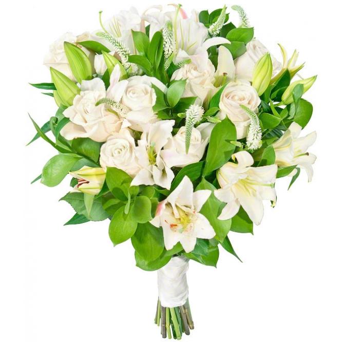 Букет цветов из белой лилии, белых роз, белой гипсофилы и декоративной зелени с доставкой по Киеву.