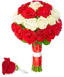 Свадебный букет невесты из красных и белых роз (экстра класс, 31 штука), а также бутоньерка с доставкой по Киеву.