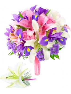 Свадебный букет невесты из розовых роз, розовой и белой лилии, синих ирисов, синей статицы и бутоньерки  с доставкой.