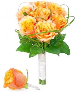 Свадебный букет невесты из оранжевых роз (7 штук, экстра класс), а также бутоньерки из оранжевой розы с доставкой.