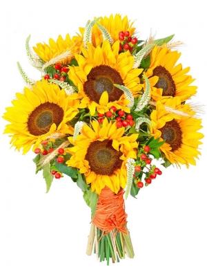 Букет цветов из оранжевых подсолнухов (7 штук, экстра класс), красного гиперикума, колосков и зелени с доставкой.