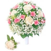 Свадебный букет невесты из кремовых роз, розовых кустовых роз, гипсофилы, а также бутоньерка с доставкой по Киеву.