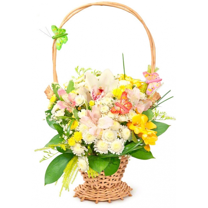 Корзина цветов из разноцветной альстромерии, розовой орхидеи, хризантемы, фрезии и декоративной зелени с доставкой.