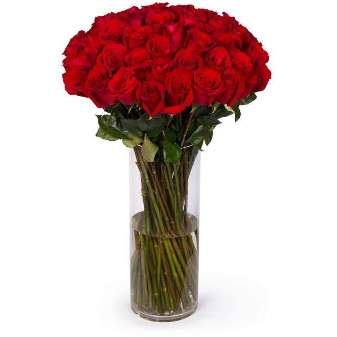 Букет цветов из красных роз (экстра класс, 49 штук, 70 сантиметров) с доставкой по Киеву.