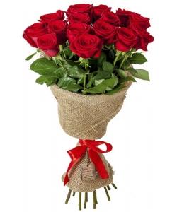Букет цветов из красных роз (15 штук 70 сантиметров) с доставкой по Киеву №19