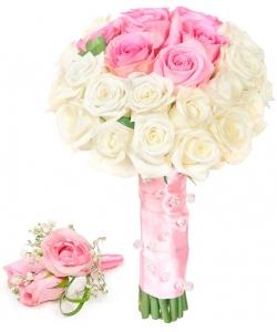 Свадебный букет невесты из белых и розовых роз (экстра класс, 31 штука), а также бутоньерка из роз с доставкой по Киеву.