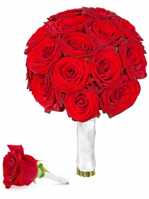 Свадебный букет невесты из красных роз (экстра класс, 21 штука), а также бутоньерка из розы с доставкой по Киеву.