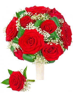 Свадебный букет невесты из красных роз (экстра класс, 15 штук), гипсофилы, зелени, а также бутоньерка из розы с доставкой.
