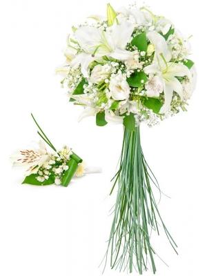 Свадебный букет невесты из белой альстромерии, лилии, эустомы,  гипсофилы, зелени, а также бутоньерка с доставкой.