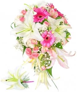 Свадебный букет невесты из альстромерии, лилии, роз, герберы, гипсофилы, зелени, а также бутоньерка из лилии с доставкой.