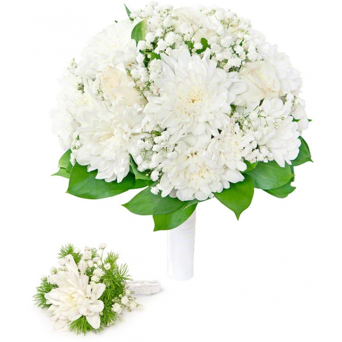 Свадебный букет невесты из белых роз, белой хризантемы, гипсофилы, декоративной зелени, а также бутоньерка  с доставкой.
