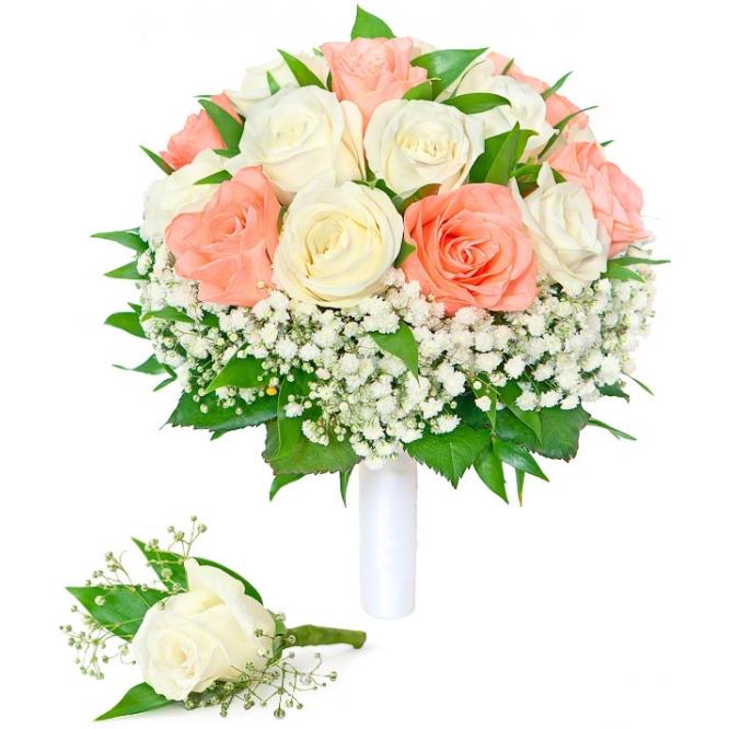 Свадебный букет невесты из белых и нежно-рыжих роз (экстра класс, 19 штук), гипсофилы, зелени, а также бутоньерка с доставкой.