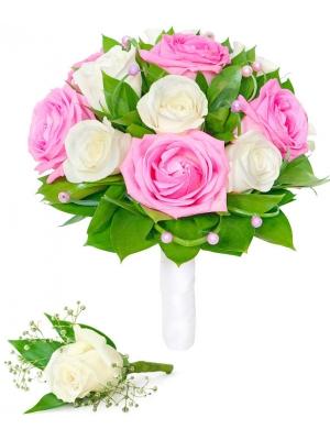 Свадебный букет невесты из белых и розовых роз (экстра класс, 15 штук), декоративной зелени, а также бутоньерка с доставкой.