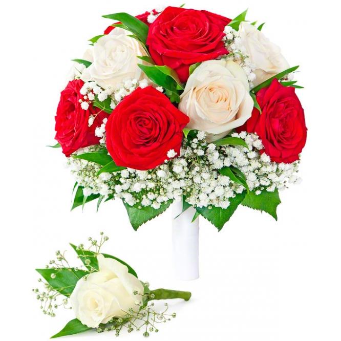 Свадебный букет невесты из белых и красных роз (экстра класс, 15 штук), декоративной зелени, а также бутоньерка с доставкой.