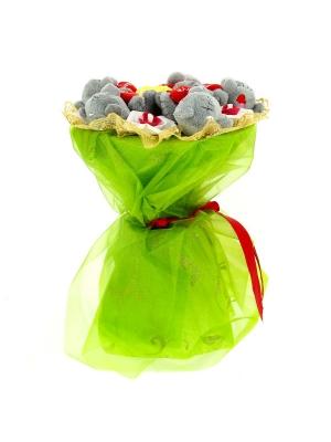 Зеленый букет из мягких игрушек мишек Тедди (5 штук h 9 см.)