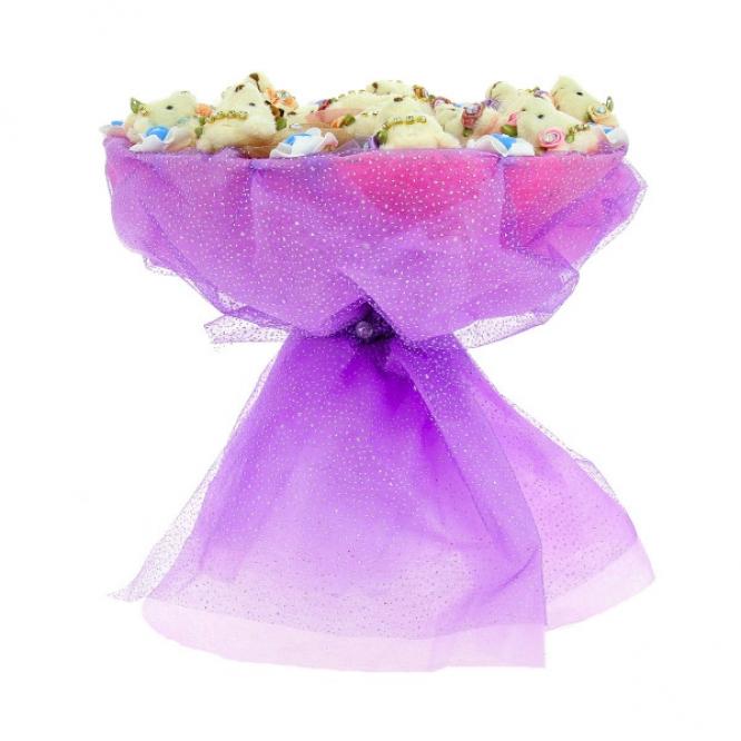Фиолетовый букет из мягких игрушек мишек (17 штук h 9 см.)