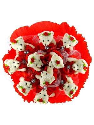 Красный букет из мягких игрушек (11 мишек h 13 см.)
