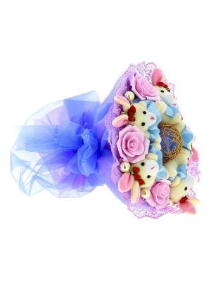 Синий букет из мягких игрушек (зайчата, 5 штук, h 9 см.)