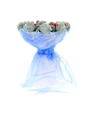 Синий букет из мягких игрушек (мишки Тедди, 10 штук h 9 см.)