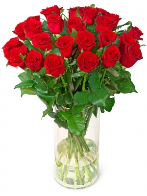 Букет цветов из красных роз (25 штук 70 сантиметров) с доставкой по Киеву.
