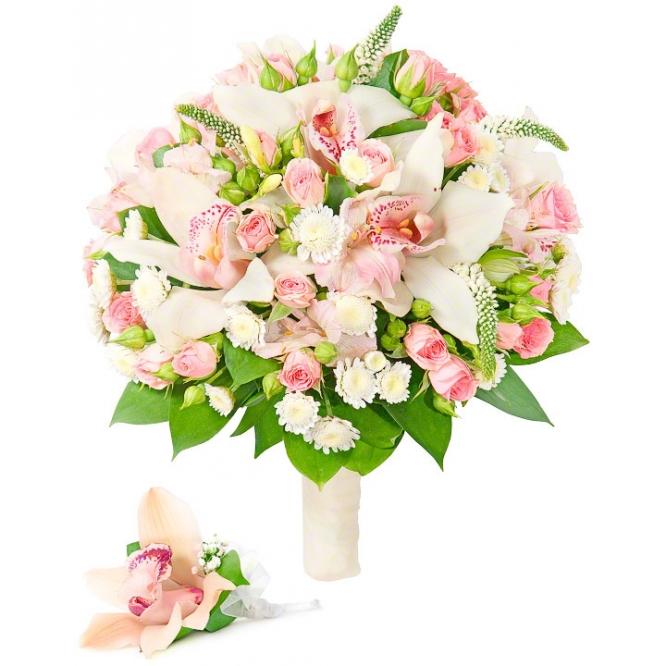 Свадебный букет невесты из розовой орхидеи, альстромерии, хризантемы, розовых роз, зелени, а также бутоньерка с доставкой.