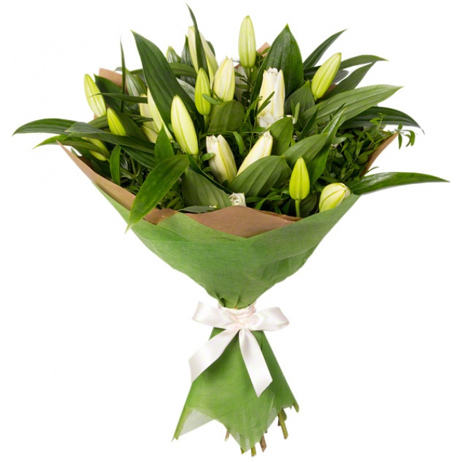 Букет цветов из белой лилии (экстра класс, 15 веток, 75 сантиметров) и декоративной зелени с доставкой по Киеву.