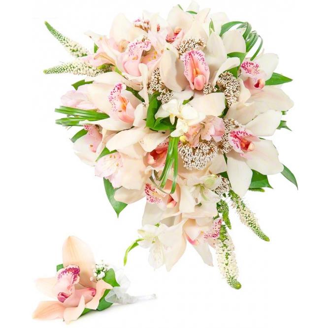 Свадебный букет невесты из розовой орхидеи (экстра класс, 1 ветка, ~12 цветков), зелени, а также бутоньерка с доставкой.