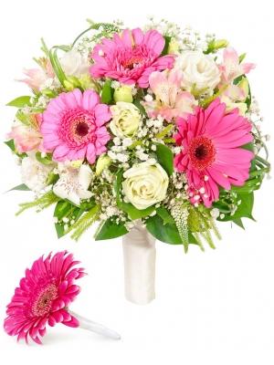 Свадебный букет невесты из розовой герберы, белой эустомы, альстромерии, зелени, а также бутоньерка с доставкой.
