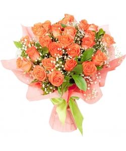 Букет цветов из рыжих роз Вау (экстра класс, 25 штук), гипсофилы и декоративной зелени с доставкой по Киеву.