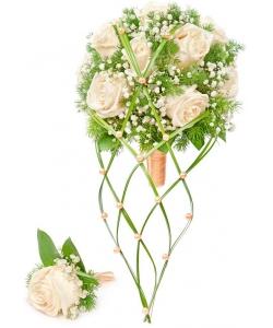 Свадебный букет невесты из кремовых роз (экстра качество, 11 штук), гипсофилы, зелени, а также бутоньерка с доставкой.
