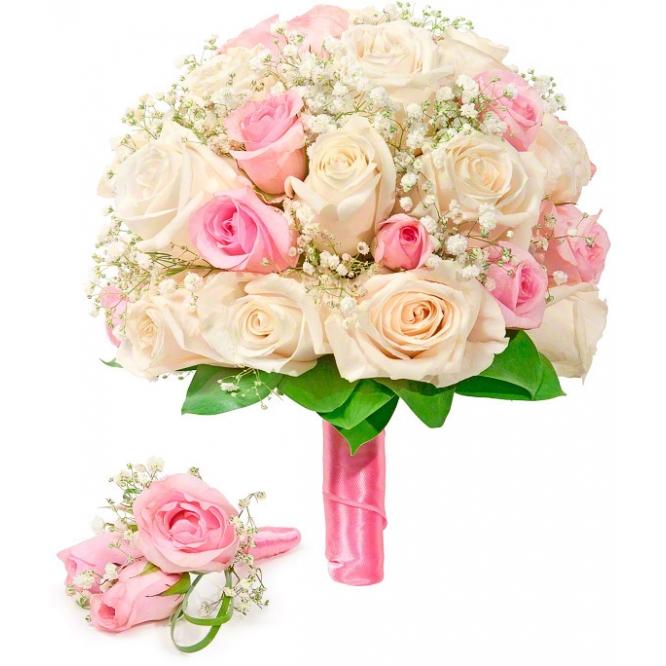 Свадебный букет невесты из кремовых и розовых роз (экстра качество, 35 штук), гипсофилы, а также бутоньерка с доставкой.