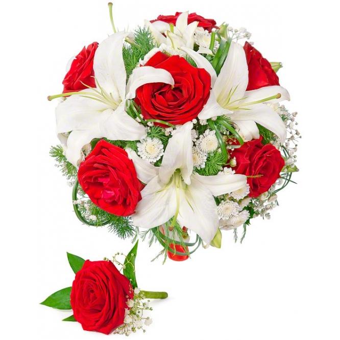 Свадебный букет невесты из красных роз, белой лилии , гипсофилы, декоративной зелени, а также бутоньерка с доставкой.