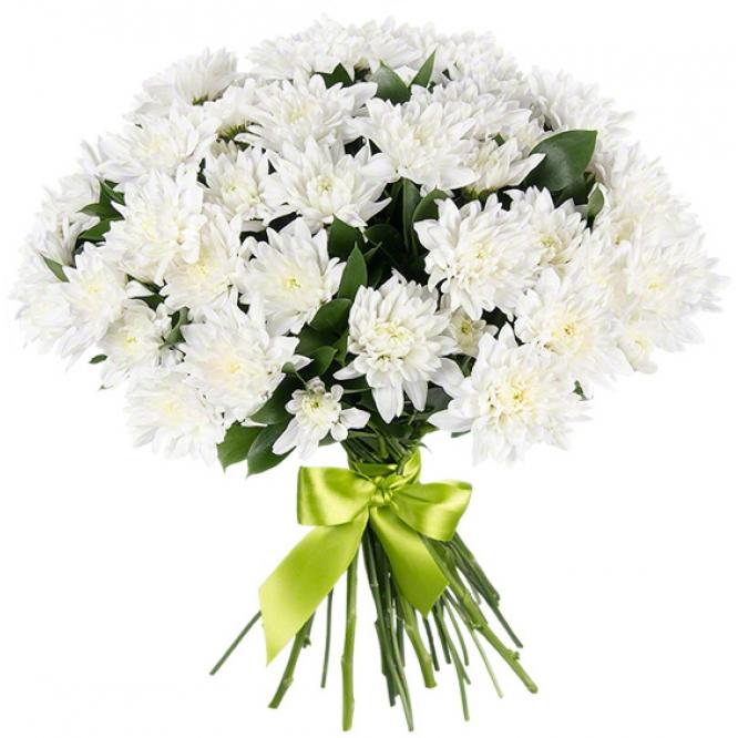 Букет цветов из белой кустовой хризантемы (экстра класс, 9 веток, 75 сантиметров) с доставкой по Киеву.