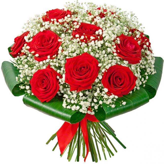 Букет цветов из красных роз (экстра класс, 11 штук, 70 сантиметров), гипсофилы и декоративной зелени с доставкой по Киеву.
