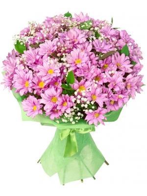 Букет цветов из фиолетовой кустовой хризантемы (экстра класс, 11 веток, 70 сантиметров), гипсофилы и зелени с доставкой.