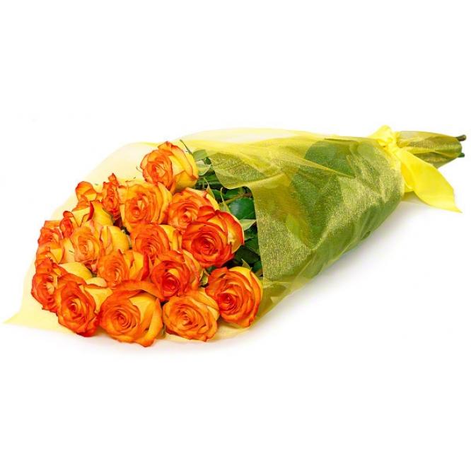 Букет цветов из оранжевых роз Баллада (экстра класс, 21 штука, 70 сантиметров) с доставкой по Киеву.