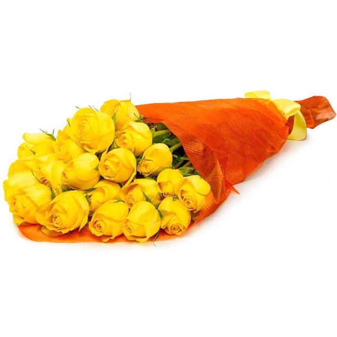 Букет цветов из желтых роз (экстра класс, 21 штука, 70 сантиметров) с доставкой по Киеву.