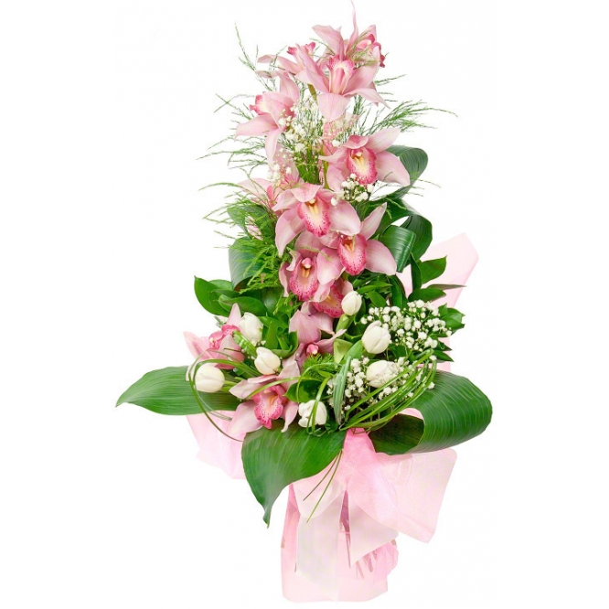 Букет цветов из розовой орхидеи Цимбидиум (экстра класс, 1 ветка, 12 цветков), белых тюльпанов и зелени с доставкой.